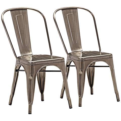 Set of 2 Zuo Modern Elio Gunmetal Dining Chairs