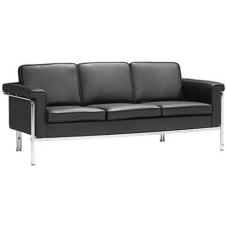 Zuo Modern Singular Black Leatherette Sofa