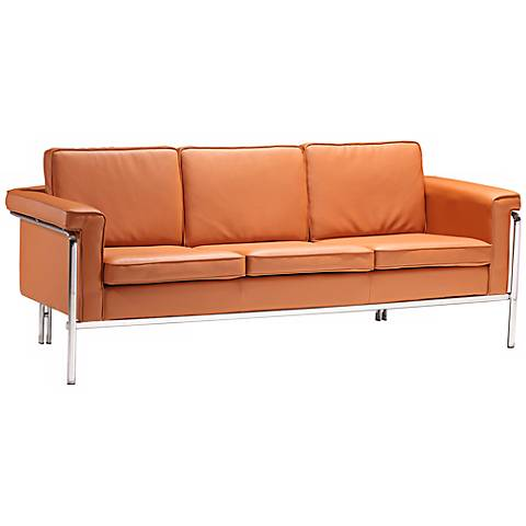 "Zuo Modern Singular 76"" Wide Terracotta Leatherette Sofa"