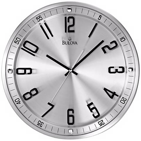 "Bulova Silhouette 13"" High Stainless Steel Wall Clock"