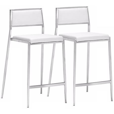 """Zuo Dolemite 26"""" White Leatherette Counter Stool Set of 2"""