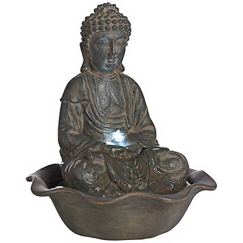 "Indoor-Outdoor 12"" High LED Seated Buddha Water Fountain"
