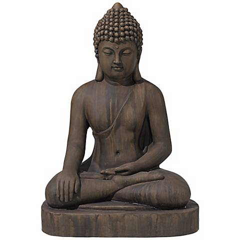 "Sitting Buddha 29 1/2"" High Faux Sandstone Outdoor Statue"