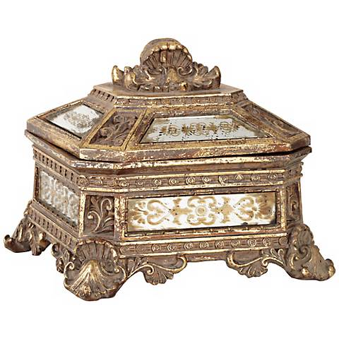 Florentine Antique Gold Mirrored Jewelry Box V8143