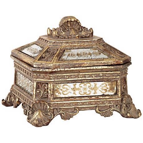 Florentine Antique Gold Mirrored Jewelry Box