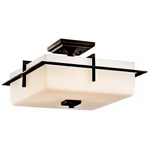 """Kichler Caterham 15"""" Wide Glass Flushmount Ceiling Light"""