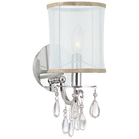 "Crystorama Hampton 13"" High Chrome Wall Sconce"