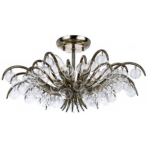 """Crystorama Metro 20 1/2"""" Wide Antique Silver Ceiling Light"""