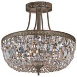 """Crystorama Traditional 12"""" High Bronze Crystal Ceiling Light"""