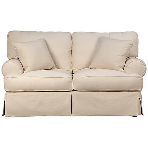 "Rachel Classic 66"" Wide Natural Slipcover Loveseat Sofa"