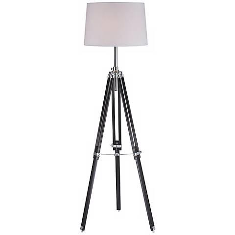 Lite Source Jiordano Tripod Black Wood Floor Lamp