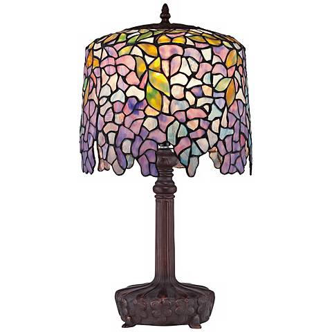 Quoizel Wisteria Purple Glass Accent Table Lamp