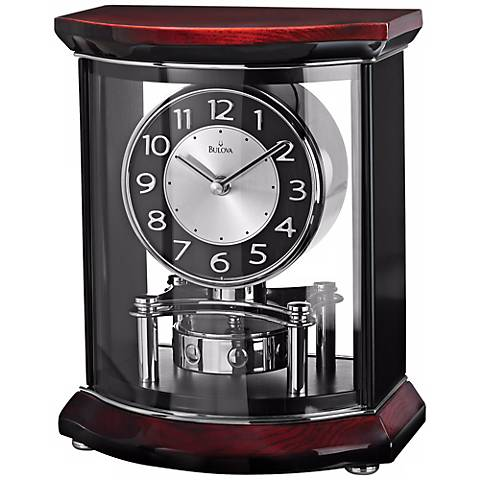 "Gentry 10 1/2"" High Wood And Glass Bulova Mantel Clock"