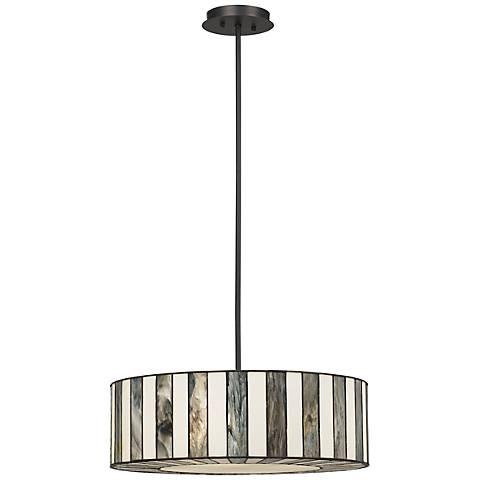 "Tiffany Style 20"" Wide Striped Art Glass Pendant Light"