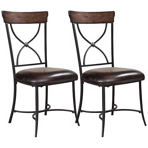 Hillsdale Cameron Set of 2 X-Back Metal Dining Chairs