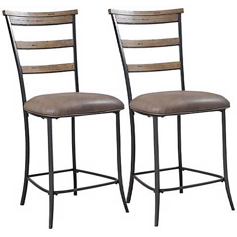 "Hillsdale Charleston 26"" Ladder-Back Counter Stool Set of 2"