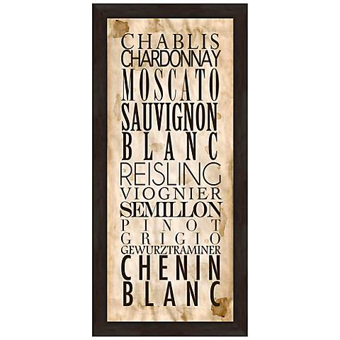 """White Wine Types A 22 1/2"""" High Framed Wine Wall Art"""