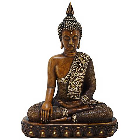 """Sitting Buddha 15"""" High Faux Stone Indoor Statue"""