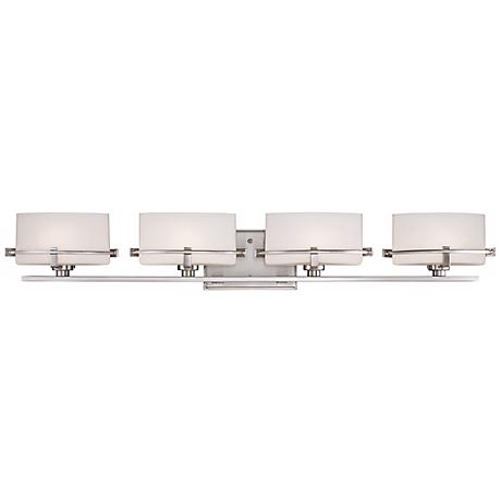 "Quoizel Nolan 35 1/2"" Wide 4-LED Nickel Bath Light"
