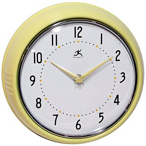 "Retro Yellow Metal 9 1/2"" Round Wall Clock"