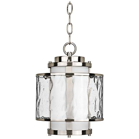 "Bay Court 12 3/4"" High Nickel Outdoor Hanging Light"