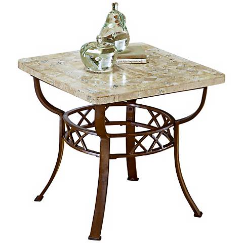 Hillsdale Brookside Fossil Stone End Table