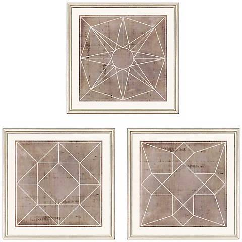 "Geometric 3-Piece 18"" Square Wall Art Print Set"