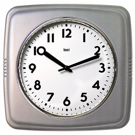 """Satin Silver 9 1/2"""" Wide Square Retro Wall Clock"""