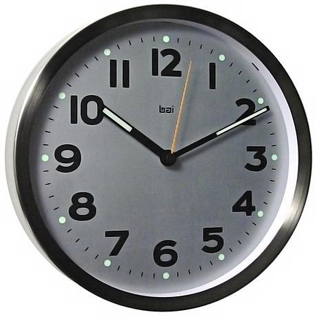 "Night Glow Stainless Steel 10"" Wall Clock"