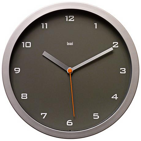 "Designer Charcoal Gray 10"" Wall Clock with Silver Bezel"
