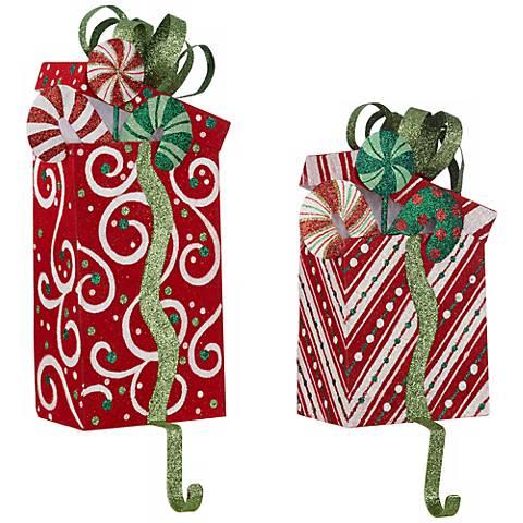 Set of 2 Flocked Present Holiday Stocking Holders