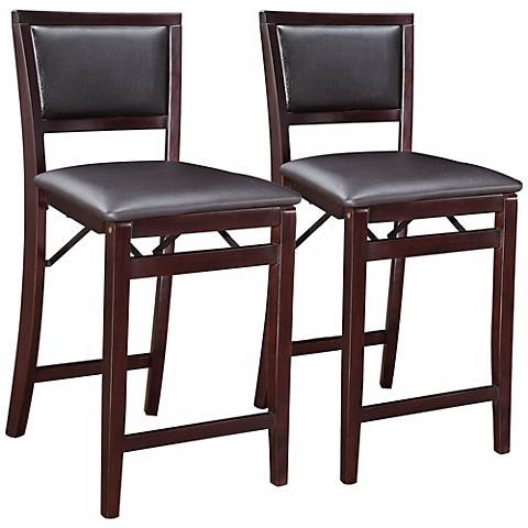 Whitfield 24 Quot Espresso Padded Back Counter Stool Set Of 2