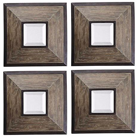 Uttermost Set of 4 Fendrel Squares Decorative Wall Mirrors