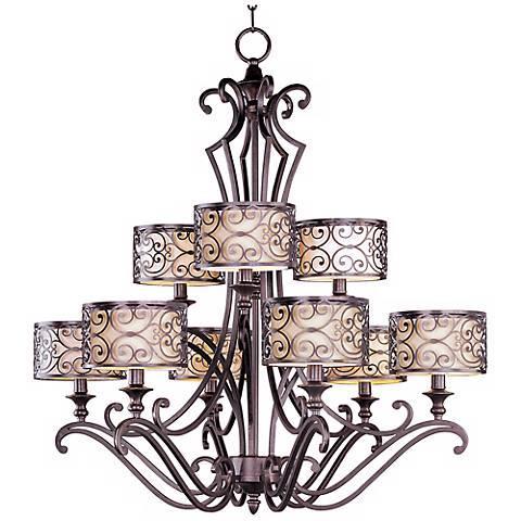 "Maxim Mondrian 36 1/2"" High 9-Light Bronze Chandelier"