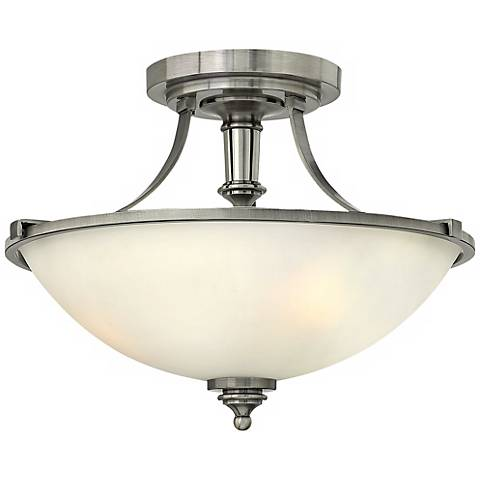 "Hinkley Truman 16"" Wide Antique Nickel Ceiling Light"