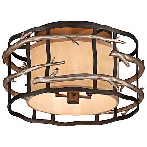 "Adirondack 18"" Wide Rustic Silver Leaf Ceiling Light"