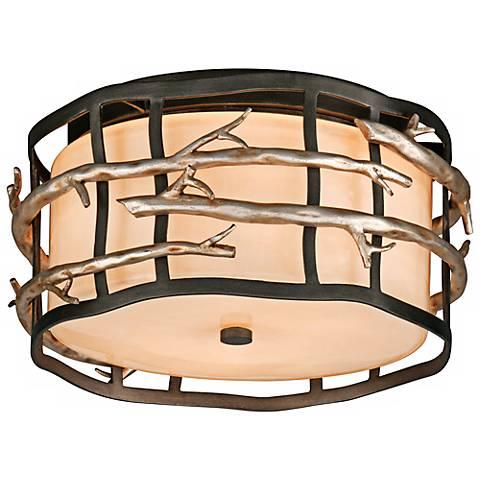 "Adirondack 13"" Wide Rustic Silver Leaf Ceiling Light"