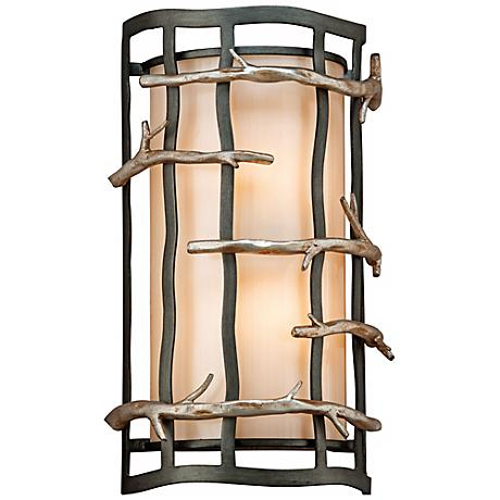"Adirondack 14"" High Rustic Silver Leaf Wall Sconce"