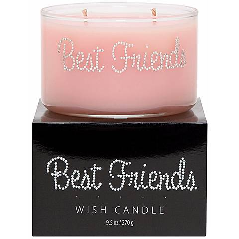 Best Friends Hand-Jeweled Pink Wish Candle