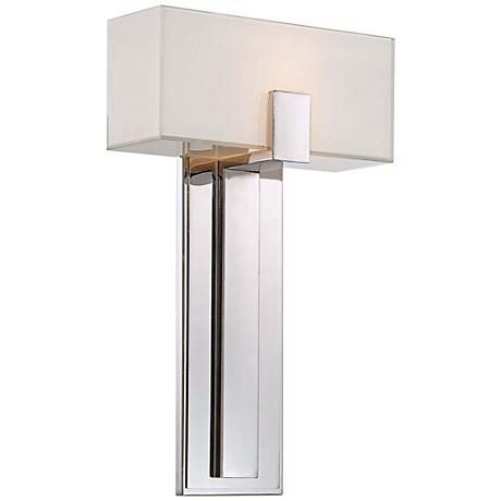 """George Kovacs Mitered Glass 10"""" Polished Nickel Wall Sconce"""