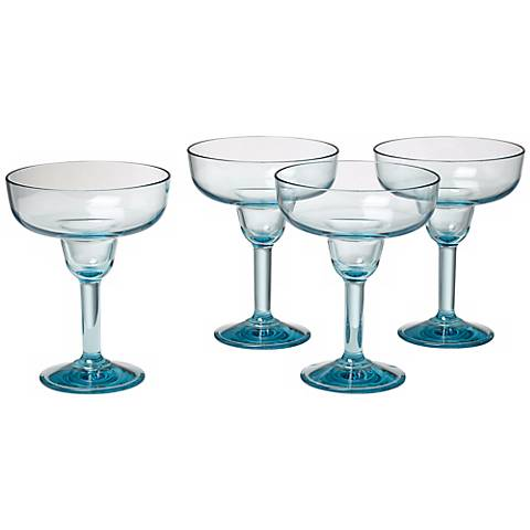 Set of 4 Glacier Blue 16 Oz. Polycarbonate Margarita Glasses