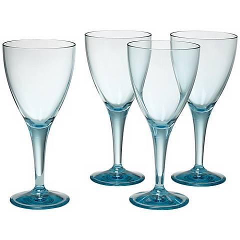 Set of 4 Glacier Blue Wine Goblets