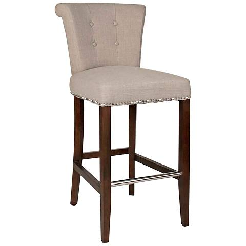 "Luxe 26"" Almond Tufted-Back Medium Wood Counter Stool"