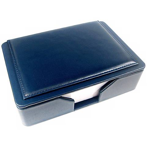 Navy Leather Memo Box with 4x6 Note Pad