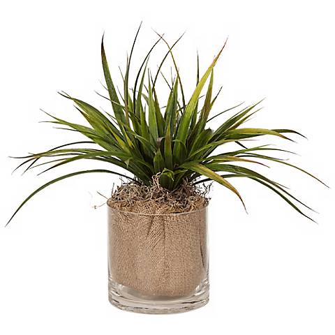 Wood and Burlap Faux Grass in Glass Pot