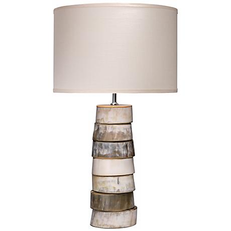 Jamie Young Stone Linen Shade Stacked Horn Table Lamp