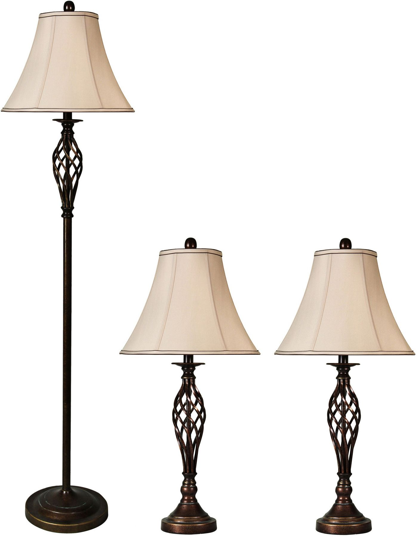 High Quality Barclay Bronze Floor And Table Lamps Set Of 3
