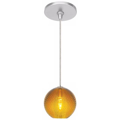 "LBL Bullé 4"" Wide Amber Nickel Globe Mini Pendant"
