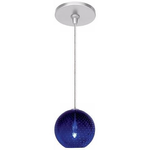 "LBL Bullé 4"" Wide Blue Nickel Globe Mini Pendant"