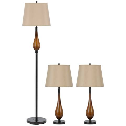 Set of 3 Wood Floor and Table Lamps